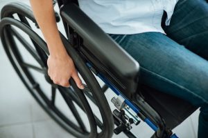 Woman in a new wheelchair