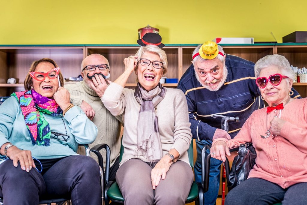 happy seniors in a hospice