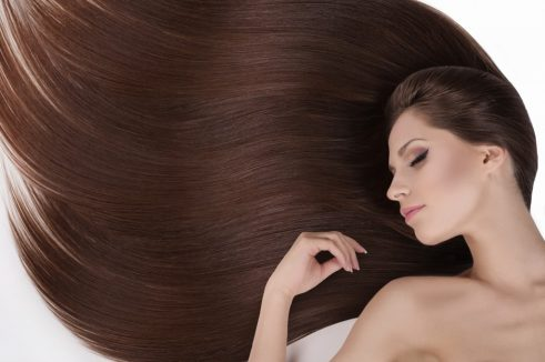 Beautiful brown hair of a woman
