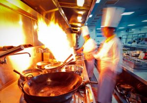 Chef doing a flambe
