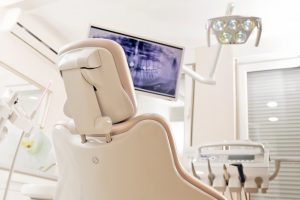 Dental chair in dentist office