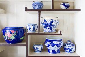 porcelain ceramic bowls on shelves