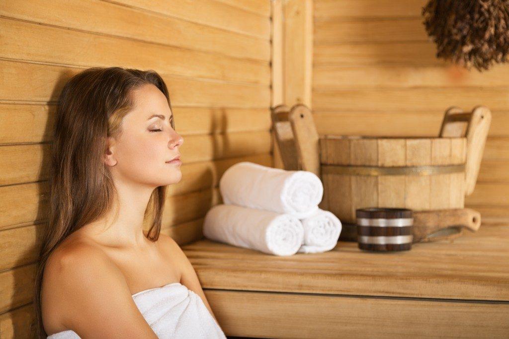 woman at a sauna