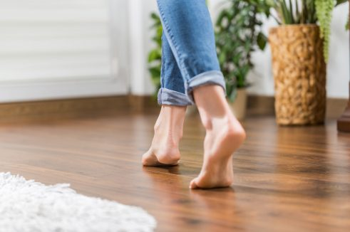 walking bare feet