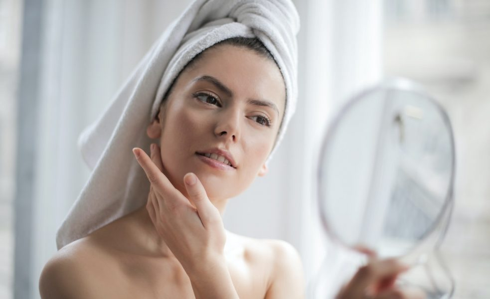 person doing skin care