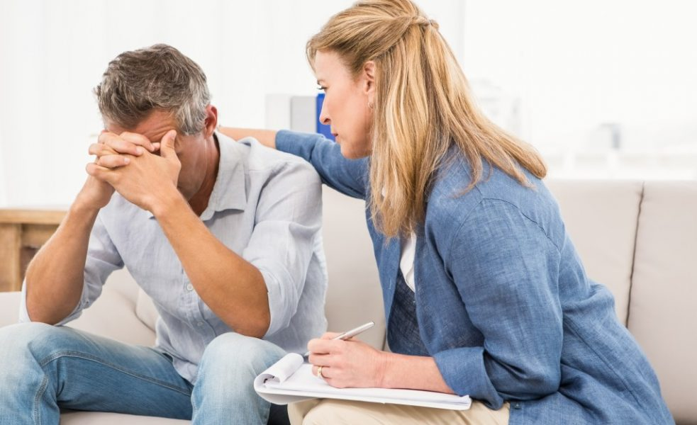 man having a treatment with his psychiatrist